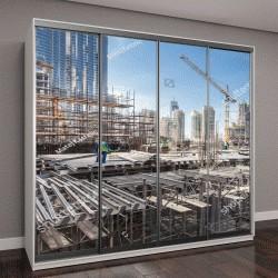"""Шкаф купе с фотопечатью """"рабочие на современных строительных работ в Дубае"""""""