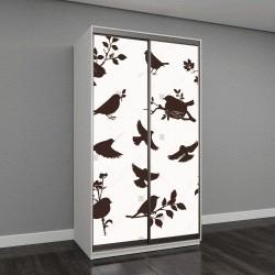 """Шкаф купе с фотопечатью """"Векторный набор весенних птиц, ветки, летящие птицы и гнезда"""""""
