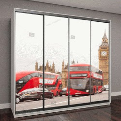 """Шкаф купе с фотопечатью """"Лондон, Великобритания, лондонский красный автобус и Биг Бен"""""""