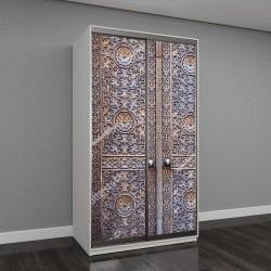 """Шкаф купе с фотопечатью """"Деревянные двери в мусульманском храме с цветочным узором и арабесками"""""""