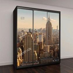 """Шкаф купе с фотопечатью """"Манхэттен Мидтаун с подсветкой небоскребов на закате"""""""
