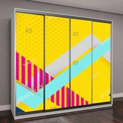 """Шкаф купе с фотопечатью """"розовые и голубые полосы на желтом фоне"""""""