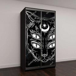 """Шкаф купе с фотопечатью """"Черная кошка с луной и четырьмя глазами"""""""