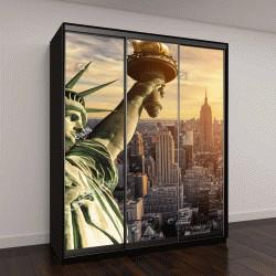 """Шкаф купе с фотопечатью """"Статуя Свободы и Нью-Йорк Skyline в темноте"""""""