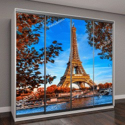 "Шкаф купе с фотопечатью ""Эйфелева башня и река Сена в Париже, Франция"""