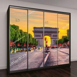 """Шкаф купе с фотопечатью """"вид Елисейских полей и Триумфальной арки ночью в Париже, Франция"""""""