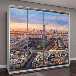 """Шкаф купе с фотопечатью """"Вид с воздуха на Париж на закате"""""""
