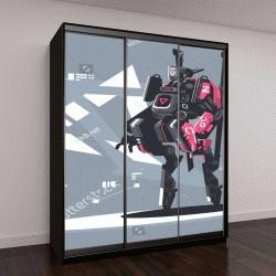 """Шкаф купе с фотопечатью """"Робот-дрон механизация и автоматизация"""""""