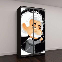 """Шкаф купе с фотопечатью """"шарж Альберт Эйнштейн"""""""