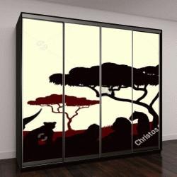 """Шкаф купе с фотопечатью """"Африканское сафари, силуэт животного"""""""