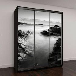 """Шкаф купе с фотопечатью """"морской пейзаж в черно-белых тонах"""""""