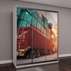 """Шкаф купе с фотопечатью """"перевозка грузовых контейнеров"""""""