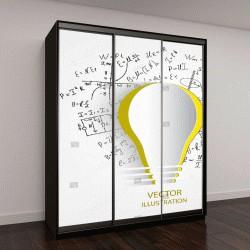 """Шкаф купе с фотопечатью """"Математические уравнения и формулы вокруг электрической лампочки на белом фоне - векторные иллюстрации"""""""