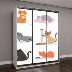 """Шкаф купе с фотопечатью """"кошки разных пород, иллюстрации"""""""
