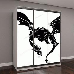 """Шкаф купе с фотопечатью """"черный дракон на белом фоне"""""""
