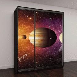 """Шкаф купе с фотопечатью """"Планеты Солнечной системы, кометы, солнце и звезды"""""""