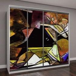 """Шкаф купе с фотопечатью """"Панорамный абстрактные геометрические картины в стиле Пикассо"""""""