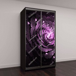 """Шкаф купе с фотопечатью """"Абстрактный розовый цветок с яркими искрами на черном фоне"""""""