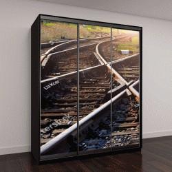 """Шкаф купе с фотопечатью """"железнодорожные пути, ведущие в закат"""""""