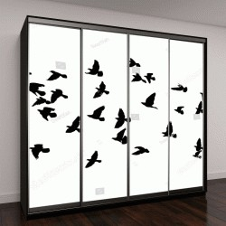 """Шкаф купе с фотопечатью """"Векторные силуэты летящих птиц"""""""