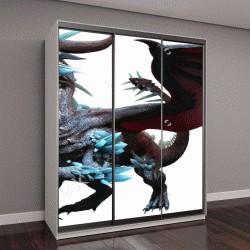 """Шкаф купе с фотопечатью """"Синий дракон 3D иллюстрация"""""""
