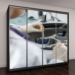 """Шкаф купе с фотопечатью """"Ученый в белом халате стит на лабораторной центрифуге"""""""