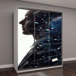 """Шкаф купе с фотопечатью """"иллюстрация искусственный интеллект"""""""
