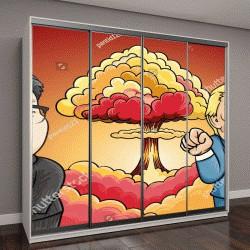 """Шкаф купе с фотопечатью """"Сентября 13,2017:карикатура характер иллюстрации Ким Чен Ына и Дональд Трамп на фоне ядерного взрыва"""""""
