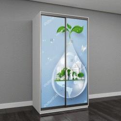 """Шкаф купе с фотопечатью """"капля воды с зеленью внутри"""""""