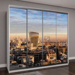 """Шкаф купе с фотопечатью """"Закат над городским пейзажем, Нью-Лондон, Великобритания"""""""
