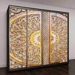 """Шкаф купе с фотопечатью """"красивый традиционный узбекский орнамент, вырезанный на деревянной двери """""""