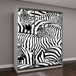 """Шкаф купе с фотопечатью """"Абстрактные иллюстрации, стадо зебр"""""""