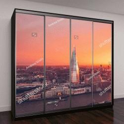 """Шкаф купе с фотопечатью """"Лондон, оранжевый закат"""""""
