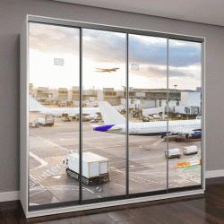 """Шкаф купе с фотопечатью """"вид на аэропорт с самолетами и транспортом на закате"""""""