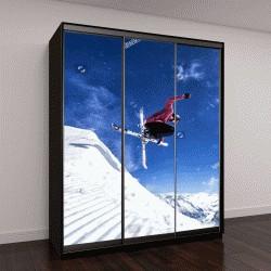 """Шкаф купе с фотопечатью """"лыжник прыгает"""""""