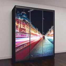 """Шкаф купе с фотопечатью """"Скорость движения, Лондон-Сити"""""""