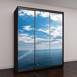 """Шкаф купе с фотопечатью """"прекрасное голубое небо с облаками и морем"""""""