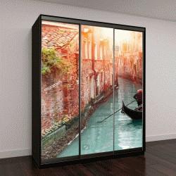 """Шкаф купе с фотопечатью """"Венецианский гондольер, плавание через зеленый канал"""""""