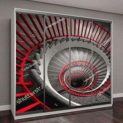 """Шкаф купе с фотопечатью """"красная винтовая лестница в старом здании"""""""