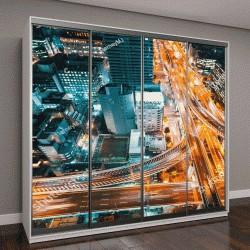 """Шкаф купе с фотопечатью """"Вид с воздуха пересечения шоссе в Осаке, Япония"""""""