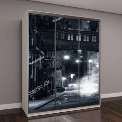 """Шкаф купе с фотопечатью """"монохромный вид на улицу в районе Трайбека, Нью-Йорк"""""""