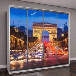 """Шкаф купе с фотопечатью """"Елисейские поля и Триумфальная арка, в ночное время, Париж"""""""
