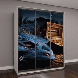 """Шкаф купе с фотопечатью """"Фэнтези сцена с синим драконом"""""""