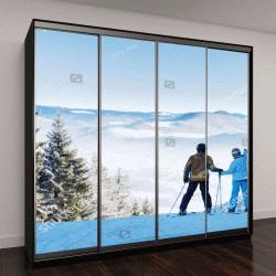 """Шкаф купе с фотопечатью """"Пара лыжников и красивый пейзаж """""""
