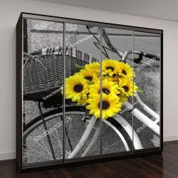 """Шкаф купе с фотопечатью """"Велосипед украшен подсолнухами"""""""