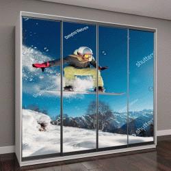 """Шкаф купе с фотопечатью """"прыжки со сноубордом с горы"""""""