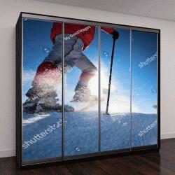 """Шкаф купе с фотопечатью """"Туристы в зимних горах на снегоступах"""""""