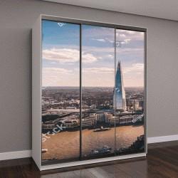 """Шкаф купе с фотопечатью """"Потрясающий панорамный вид на реку Темза, небоскреб Shard, Лондон и город с небоскреба"""""""