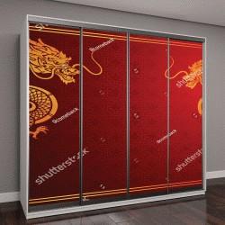 """Шкаф купе с фотопечатью """"Традиционный шаблон китайский с Китайский дракон на красном фоне,векторные иллюстрации"""""""