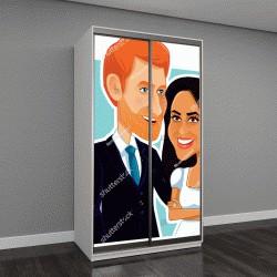 "Шкаф купе с фотопечатью ""Меган Маркл и принц Гарри, карикатура"""